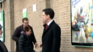 Labour leader Ed Miliband campaigns in Doncaster ENGLAND South Yorkshire Doncaster Carcroft EXT Ed Miliband MP standing outside ASDA supermarket with...