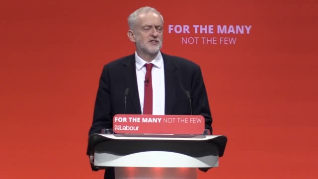 Labour leader Jeremy Corbyn addresses the Labour Party Conference in Brighton He discusses Brexit the Daily Mail joke Bombardier and the Diane Abbot...