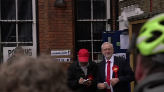 Labour leader Jeremy Corbyn arrives at polling station in Holloway in North London