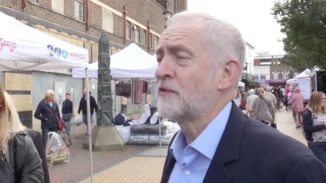 Labour leader Jeremy Corbyn during a campaign visit to Thurrock Corbyn meets people at a market in Grays He responds to Theresa May's comments about...