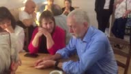Labour leader Jeremy Corbyn has a cup of tea and meets with pensioners during an afternoon tea in St Bryce Kirk Kirkcaldy