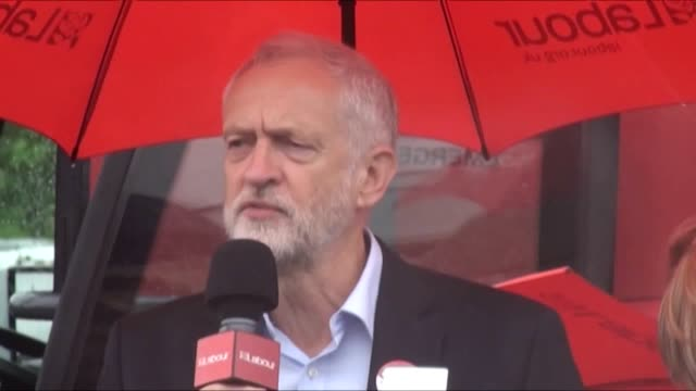 Labour leader Jeremy Corbyn holds a rally in Hemlington Middlesbrough and talks about the terror attacks in Manchester and London last night's...