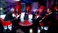 Live debate with candidates David Miliband interview SOT All sick and tired of people refighting the battles of the past Burnham interview SOT Labour...