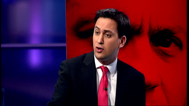 Live debate with candidates Ed Miliband interview SOT On support for Green industries pioneered by Labour government irresponsible cuts made by...