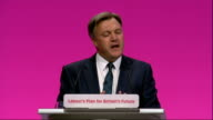 Ed Balls conference speech ENGLAND Manchester PHOTOGRAPHY*** Ed Balls MP speech SOT Twenty years ago starting at this Labour conference we together...