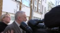 Jeremy Corbyn doorstep ENGLAND London EXT Jeremy Corbyn MP out of house along past press not answering questions into car and away