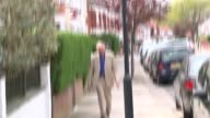 Ken Livingstone doorstep ENGLAND London EXT Ken Livingstone towards with dog Ken Livingstone speaks to press as along and into house SOT