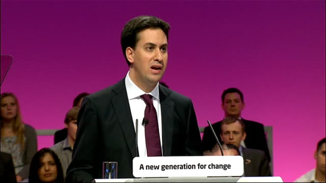 Ed Miliband's first speech as new Labour leader Ed Miliband speech SOT When I think about my son I think what he will be asking me in twenty years...