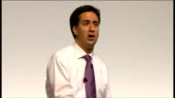 Ed Miliband takes part in QA session Video of question played on screen Ed Miliband answering question SOT On whether he'd impose a maximum wage no...