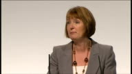Harriet Harman speech / end of conference songs ENGLAND Merseyside Liverpool INT Harriet Harman introducd and along to podium / Harriet Harman speech...