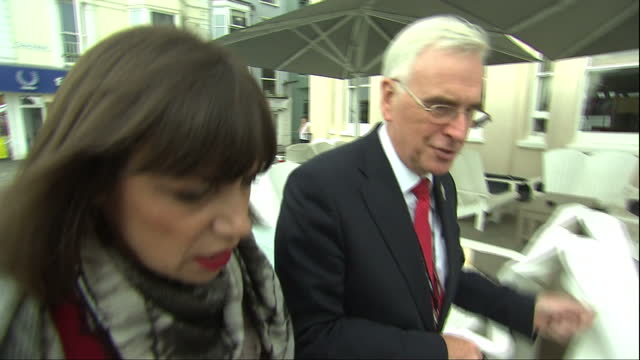 Labour Party Conference Brighton Exterior interview Shadow Chancellor John McDonnell arriving at Conference Centre and is doorstepped by Beth Rigby...