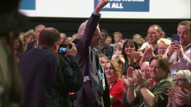 Labour Party Conference Brighton Interior shots John McDonnell MP Shadow Chancellor thanks Ken Loach film maker for his fight for social justice who...