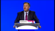 Ed Balls speech ENGLAND Manchester PHOTOGRAPHY** Ed Balls MP along to podium and speech SOT **Speech transcript check against delivery** Conference...