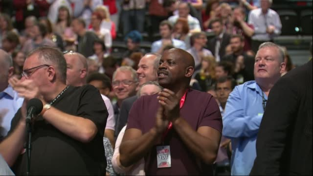 Jeremy Corbyn chant popularity ENGLAND West Sussex Brighton INT Audience at Labour Party Conference chanting 'Oh Jeremy Corbyn' SOT Audience clapping...