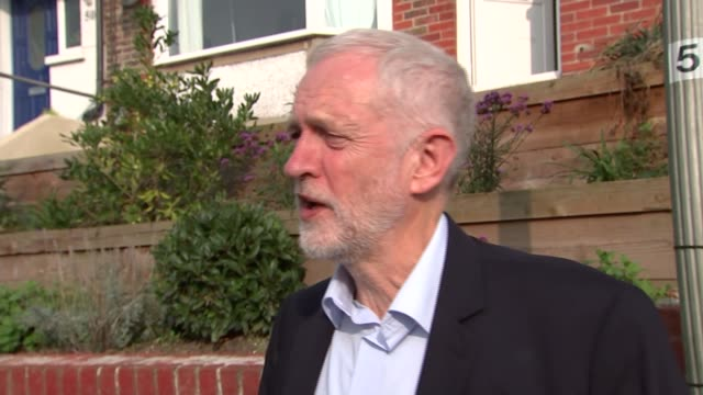 Jeremy Corbyn interview ENGLAND West Sussex Brighton EXT Jeremy Corbyn MP interview as along with Robert Peston SOT re Naomi Klein speech election...