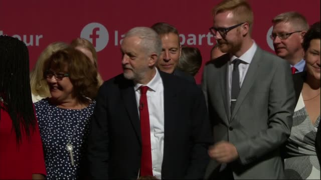 Jeremy Corbyn keynote speech ENGLAND East Sussex Brighton INT Jeremy Corbyn MP finishing speech SOT / Corbyn waving / Corbyn and others singing Red...
