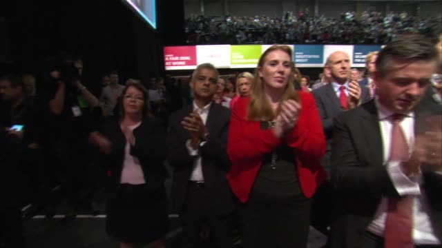Jeremy Corbyn speech cutaways ENGLAND East Sussex Brighton INT Shadow Cabinet MPs in audience including Jon Ashworth MP Keir Starmer MP Emily...