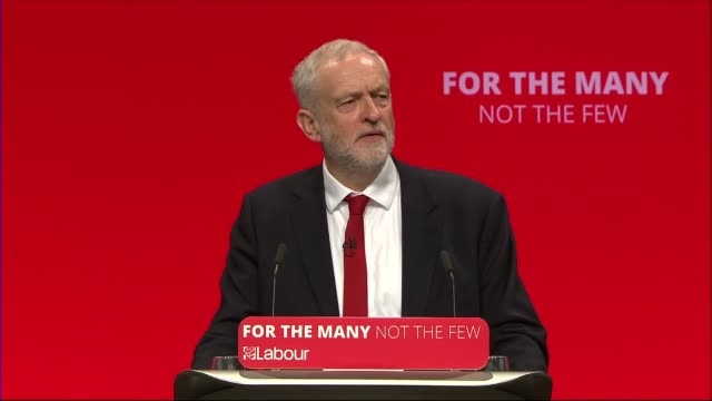 Jeremy Corbyn speech Jeremy Corbyn MP speech SOT re centre ground / Scottish Labour Corbyn waving / Corbyn and delegates singing songs SOT / Corbyn...