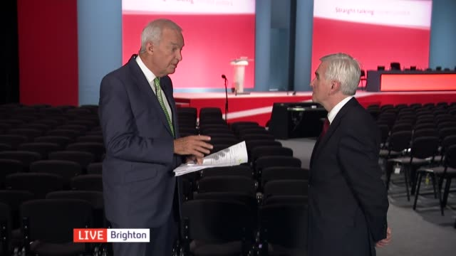 John McDonnell speech ENGLAND East Sussex Brighton INT John McDonnell MP LIVE interview SOT On Redcar steel plant being mothballed / government...