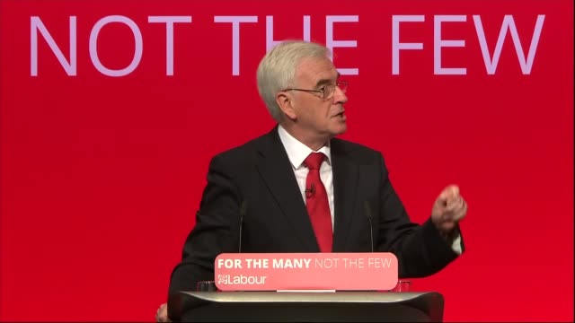 John McDonnell speech John McDonnell speech SOT real living wage education will bring existing PFI contracts back inhouse John McDonnell on stage...