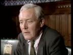 Deputy leadership Tony Benn ENGLAND London MS Tony Benn ZOOM CS Tony Benn side view TS Tony Benn seated SOF 'Yes I'm 99% case across' 2 Shot CS TONY...