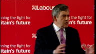 Gordon Brown speech to Labour activists in West Ham Brown speech SOT Always thought that wherever opportunity us denied potential frustrated talent...