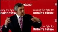 Gordon Brown speech to Labour activists in West Ham Brown speech SOT All comes back to our values to where we stand and what we believe comes back to...