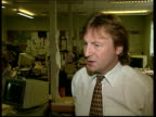 Gordon McMaster death ITN Entrance to 'Paisley Daily Express' building Poster 'McMaster suicide Labour launch probe' Norman MacDonald intvwd talks...