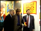 Ken Follett attack on Tony Blair ITN LIB Labour supporter Ken Follett standing with Education Secretary David Blunkett MP and another as they pose...
