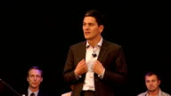 David Miliband speech ENGLAND London PHOTOGRAPHY** Unidentified woman introductory speech SOT / David Miliband MP speech SOT Thanks people / you've...