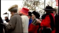 Ladies Day at Cheltenham Festival ENGLAND Gloucestershire Cheltenham EXT Various of women wearing hats