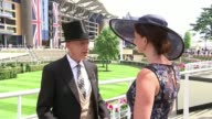 'Ladies' Day' at Royal Ascot Stephen Jones setup shots with reporter / interview SOT
