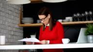Lady examining documents