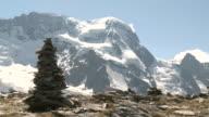 MS Lady hiker walking and enjoying in front of Monte Rosa / Zermatt, Valais, Switzerland