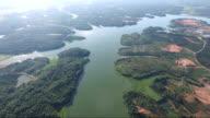 Lake area near Datang thermal power station aerial view in Fuzhou city,Jiangxi Province,China