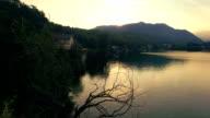 See bei Sonnenuntergang – Luftaufnahme