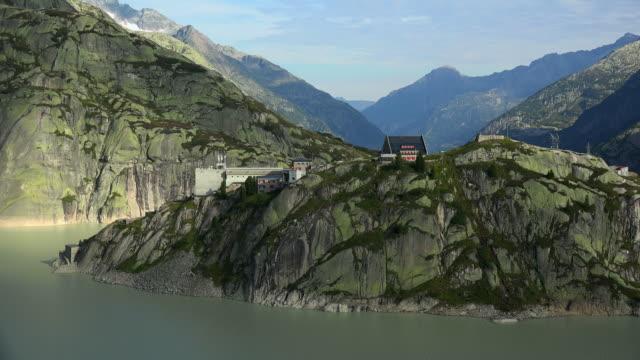 Lake Grimsel and Grimsel Hospiz (hotel), Bernese Alps, Switzerland, Europe