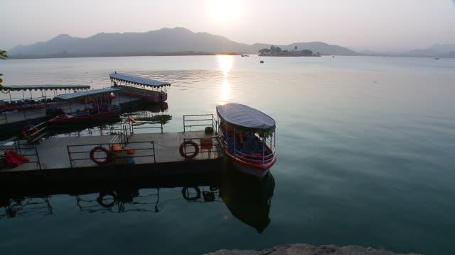 WS Lake Pichola with boats / Udaipur, Rajasthan, India