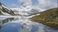 A lake reflects the snowy Matterhorn in Switzerland.