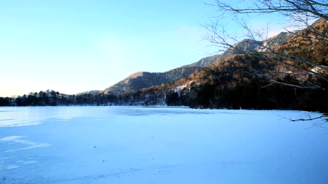 Lake Yuno (Yunoko) in winter, (timelapse)