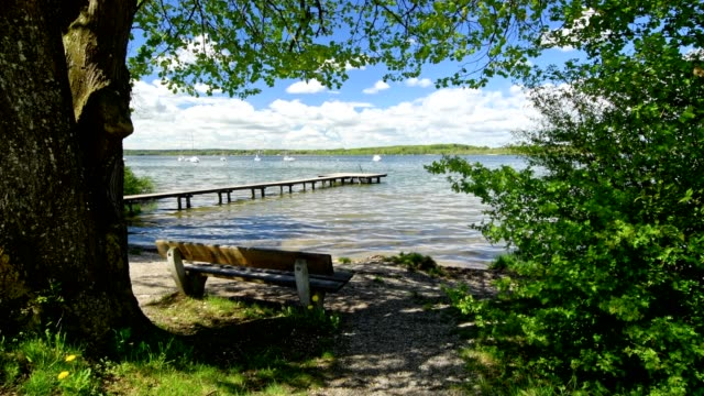 Lakeside with bench and jetty, Inning Stegen, Ammersee, Fuenfseenland, Upper Bavaria, Bavaria, Germany