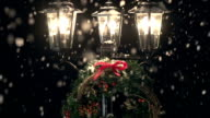 HD CRANE: Lamp post in the Snow with Christmas Wreath