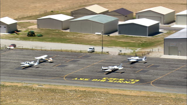 Landing At Ennis Big Sky Airport  - Aerial View - Montana, Madison County, United States