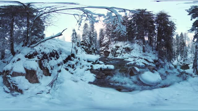 360VR landscape 8K video river in winter
