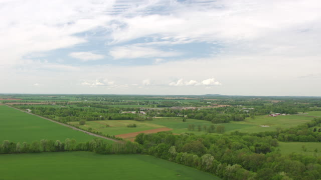 WS AERIAL Landscape approaching South Union Shaker Village / Kentucky, United States