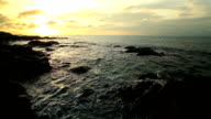 Landscape Beach and sea sunset with wawes