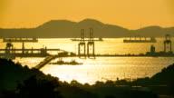 Landscape harbor at sunset