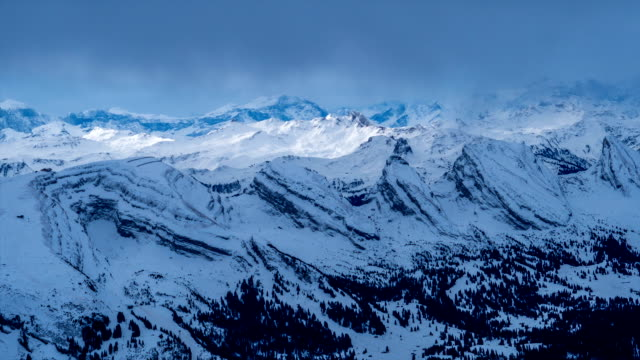 Landscape of snow-covered Säntis (the highest mountain in the Alpstein massif)