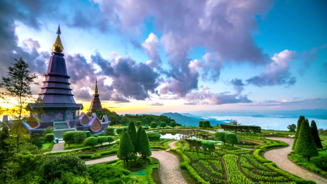 Landscape of two pagoda at Inthanon mountain