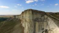 Landscape of white rocky cliffs, aerial video